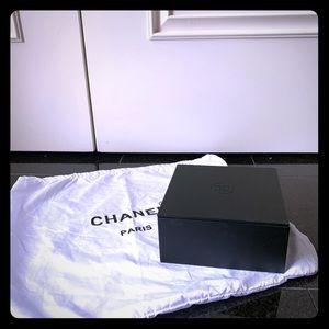 Chanel Box, black suede interior, dust bag